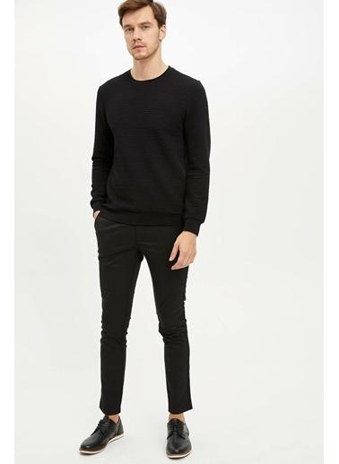 DeFacto Uzun Kollu Slim Fit Sweatshirt Siyah